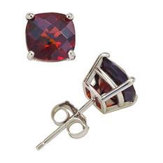 4.5 ct. t.w. Cushion Cut Garnet Stud Earrings in 14K White Gold
