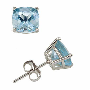 2.0 ct. t.w. Cushion Cut Aquamarine Stud Earrings in 14K White Gold