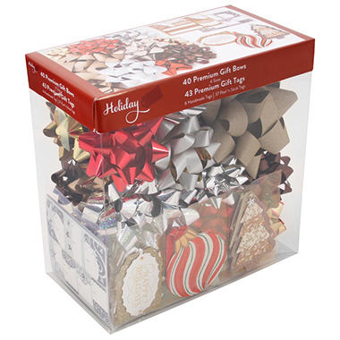 Set of 40 Premium Gift Bows and 43 Premium Gift Tags - Metallic Assortment