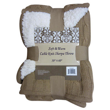 Cable Knit Sherpa Throw