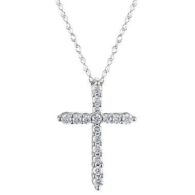 0.20 CT. T.W. Diamond Cross Pendant in 14K White Gold H-I, I1 (IGI Appraisal Value: $380.00)