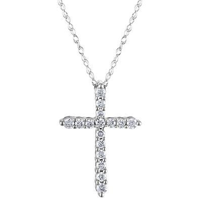 0.20 CT. T.W. Diamond Cross Pendant in 14K White Gold H-I, I1 (IGI Appraisal Value: $300.00)
