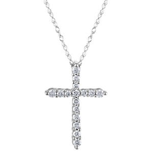 0.20 CT. T.W. Diamond Cross Pendant in 14K White Gold H-I, I1 (IGI Appraisal Value: $300.00)
