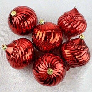 "Shatterproof Mercury Glass Look 6"" Ornaments - 6 Pack - Red"