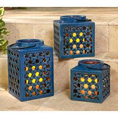 Stoneware Lantern Set with Flameless Candles