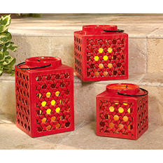 Stoneware Lantern Set with Flameless Candles