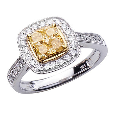 1.00 CT. T.W. Natural Light Yellow Cushion and Round White Diamond Ring in 14K Two-Toned Gold H-I, I1 (IGI Appraisal Value: $2,060)