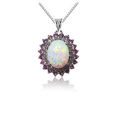 1.5 ct. Genuine Opal Pendant with Lab Created Pink and White Sapphire Accents