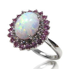 1.5 ct. Genuine Opal Ring with Lab Created Pink and White Sapphire Accents