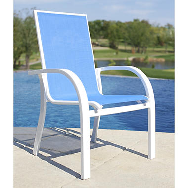 Aluminum Sling Stacking Chair - Blue