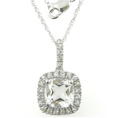 White Topaz and White Sapphire Pendant in 14k White Gold