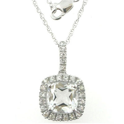 White Topaz and White Sapphire Pendant in 14k White Gold
