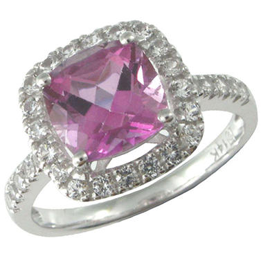 Mystic Pink Topaz and Lab-Created White Sapphire Ring in 14k White Gold