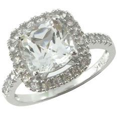 White Topaz and White Sapphire Ring in 14k White Gold