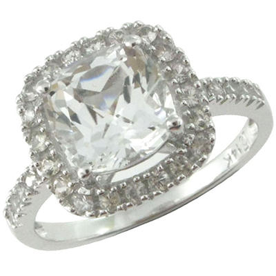 White Topaz and White Sapphire Ring in 14k White Gold