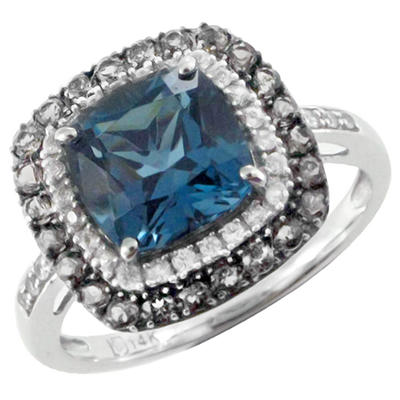 London Blue Topaz, Smoky Quartz and White Sapphire Ring in 14K White Gold