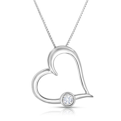 0.09 CT. TW. Heart Shaped Diamond Pendant in Sterling Silver (HI,I1)