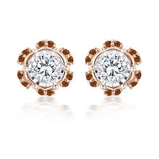 0.35 CT. TW. Brown and White Round Cut Diamond Earrings in 14K Rose Gold (HI,I1)