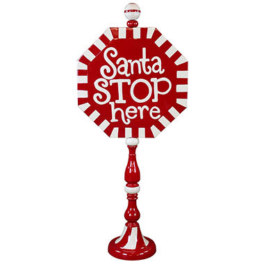 Holiday Greetings Metal Sign - Santa Stop Here