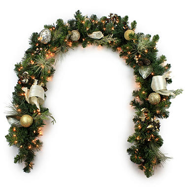 9' Decorated Holiday Garland - Choose Your Color