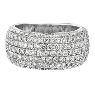 1.50 CT. T.W. Domed Diamond Band Pave Ring in 14K White Gold (I, I1)
