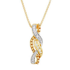 Round Cut White & Yellow Diamond Pendant in Silver with Yellow Gold Plating (0.23 ct. t.w.)