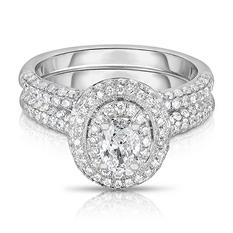 1.45 ct. tw. Oval & Round Diamond Ring in 14K White Gold (I-SI2)