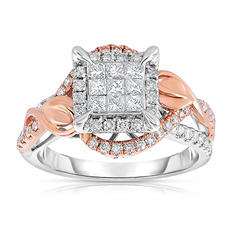 0.95 ct. tw. Diamond Bridal Ring in 14K Rose Gold