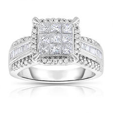 0.95 ct. tw. Diamond Bridal Ring in 14 Karat White Gold (I-I1)
