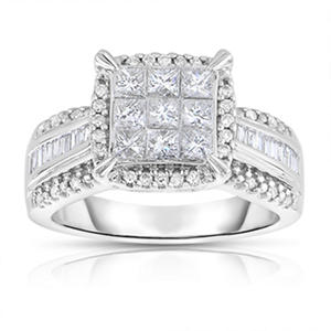 0.95 ct. tw. Diamond Engagement Ring in 14 Karat White Gold (I-I1)