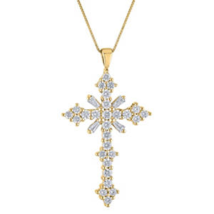 0.46 CT. T.W. Diamond Cross Pendant in 14K Yellow Gold (H-I, I1)