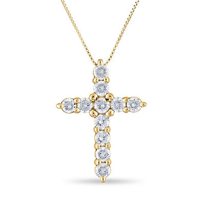 0.96 CT. T.W. Diamond Cross Pendant in 14K Yellow Gold (H-I, I1)