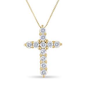 0.96 CT. T.W. Diamond Cross Pendant in 14K Yellow Gold (H-I, I1)