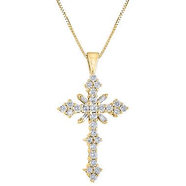 1.45 CT. T.W. Diamond Cross Pendant in 14K Yellow Gold (H-I, I1)