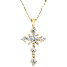 1.45 CT. T.W. Diamond Cross Pendant in 14K Yellow Gold (H-I, I1)