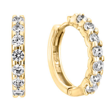 0.46 CT. T.W. Diamond Hoop Earrings in 14K Yellow Gold (H-I, I1)
