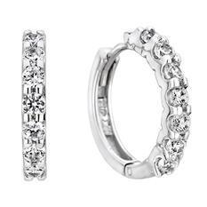 0.46 CT. T.W. Diamond Hoop Earrings in 14K White Gold (H-I, I1)