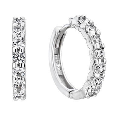 0.46 CT. T.W. Diamond Hoop Earrings in 14K White Gold (H-I, I1)