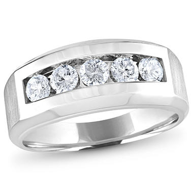 0.96 CT. T.W. Men's 5-Stone Diamond Ring in 14K White Gold (H-I, I1)