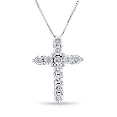 0.96 CT. T.W. Diamond Cross Pendant in 14K White Gold (H-I, I1)