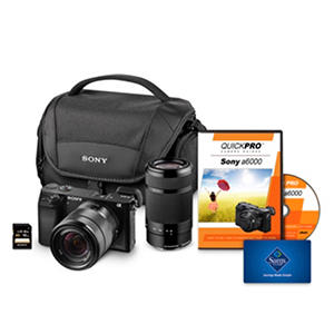 Sony a6000 Interchangeable Lens Bundle with 18-55mm and 55-120mm Lens, 16GB SD Card, Camera Case + $50 Gift Card