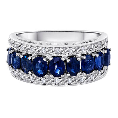 1.80 CT. T.W.  Sapphire and Diamond Ring in 14K White Gold
