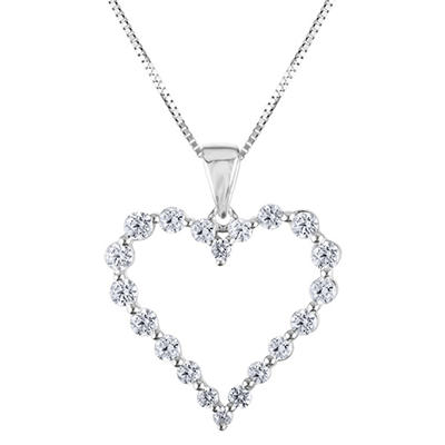 0.46 CT. T.W. Diamond Heart Pendant in 14K White Gold (H-I, I1)