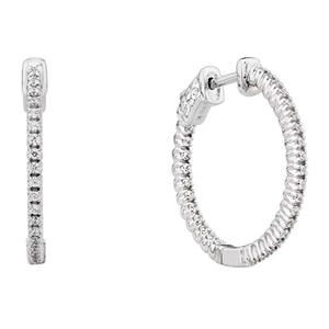 0.23 CT. T.W. Inside-Out Diamond Hoop Earrings in 14K White Gold (H-I, I1)