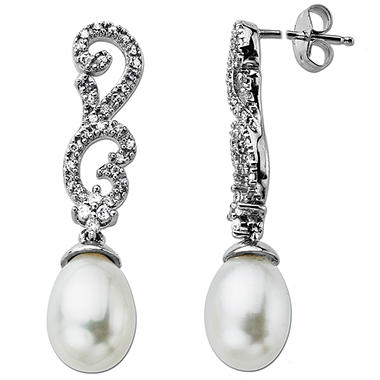 White Freshwater Pearl Earrings with 0.20 ct. t.w. Diamonds in 14k White Gold