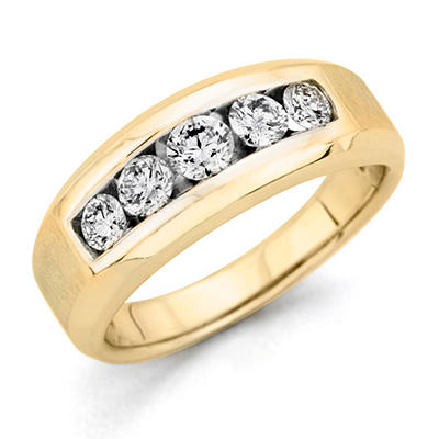 0.96 CT. T.W. Men's 5-Stone Diamond Ring in 14K Yellow Gold (H-I, I1)