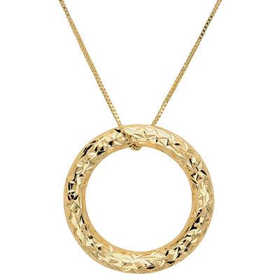 Circle Pendant Necklace in 14K Yellow Gold