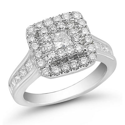 2.00 ct. t.w. Unity Diamond White Gold Halo Engagement Ring (I, I1)