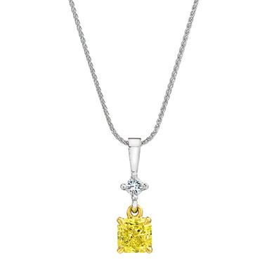 1.16 CT. T.W. Cushion Cut Fancy Light Yellow Diamond Pendant (FLY, VS1) GIA