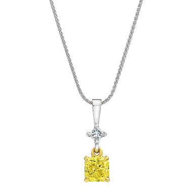 1.16 CT. T.W. Cushion Cut Fancy Light Yellow Diamond Pendant (FLY, VS1) GIA